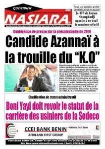 le lieutenant de la RUPTURE, associé au candidat Patrice Talon, aurait peur d'un KO au 1er tour du candidat de la mouvance présidentielle.